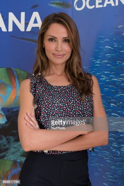 The model Almudena Fernandez attends the presentation of the OCEANA campaign on March 23 2017 in Madrid Spain