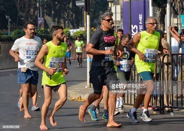 The model and fitness enthusiast Milind Soman participates in 'Tata Mumbai Marathon 2018' at Fort on January 21 2018 in Mumbai India
