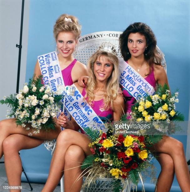 The Model and Miss Germany, 1988/1989 Nicole Reinhardt after her coronation with the Vice Miss Germany and the 3rd Miss Germany, Germany Cologne 1989.