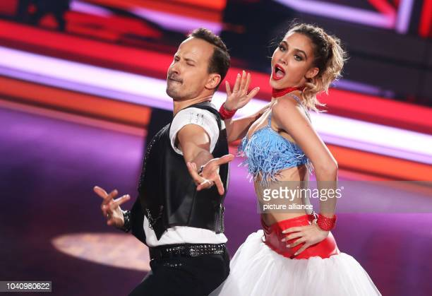 The model AnnKathrin Broemmel and the professional dancer Sergiu Luca during the RTL dance show Let's Dance at the Coloneum in Cologne Germany 24...