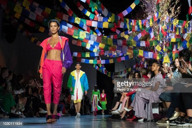 The model Bella Hadid walks the runway at Prabal Gurung show during New York Fashion Week The Shows at Gallery I at Spring Studios on September 9...