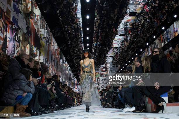 The model Binx Walton walks the runway during the Christian Dior show as part of the Paris Fashion Week Womenswear Fall/Winter 2018/2019 on February...