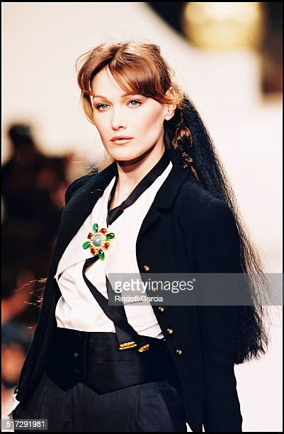 The model Carla Bruni Haute Couture fashion show spring summer 1994 in Paris