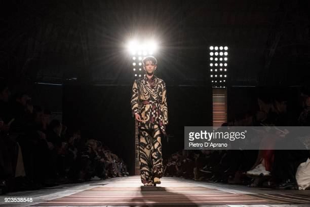 The model Dilone walks the runway at the Etro show during Milan Fashion Week Fall/Winter 2018/19 on February 23 2018 in Milan Italy