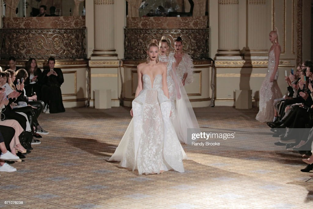The model finale on the runway at the Berta Runway show during New York Fashion Week: Bridal April 2017 at The Plaza Hotel on April 21, 2017 in New York City.