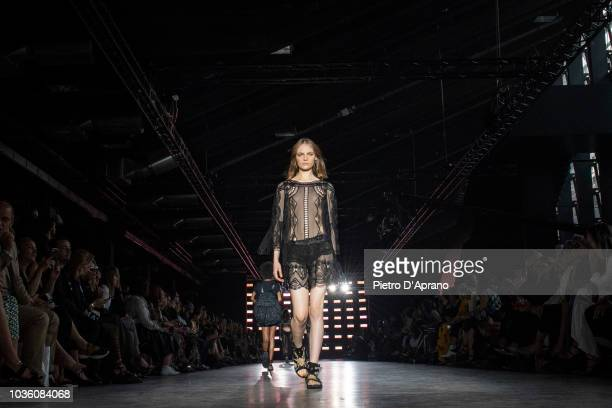 The model Fran Summers walks the runway at the Alberta Ferretti show during Milan Fashion Week Spring/Summer 2019 on September 19 2018 in Milan Italy