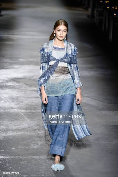 The model Gigi Hadid walks the runway at the Missoni show during Milan Fashion Week Spring/Summer 2019 on September 22 2018 in Milan Italy
