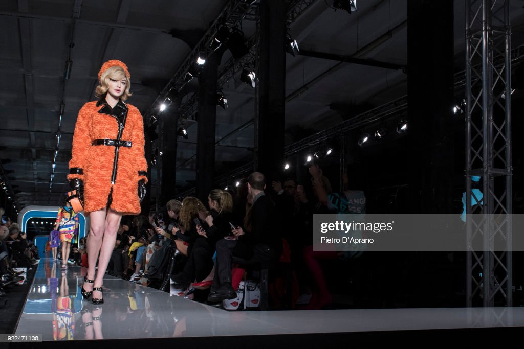 The model Gigi Hadid walks the runway at the Moschino show during Milan Fashion Week Fall/Winter 2018/19 on February 21, 2018 in Milan, Italy.