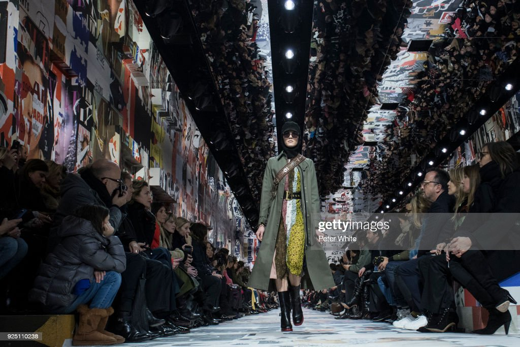 The model Harlow Monroe walks the runway during the Christian Dior show as part of the Paris Fashion Week Womenswear Fall/Winter 2018/2019 on February 27, 2018 in Paris, France.