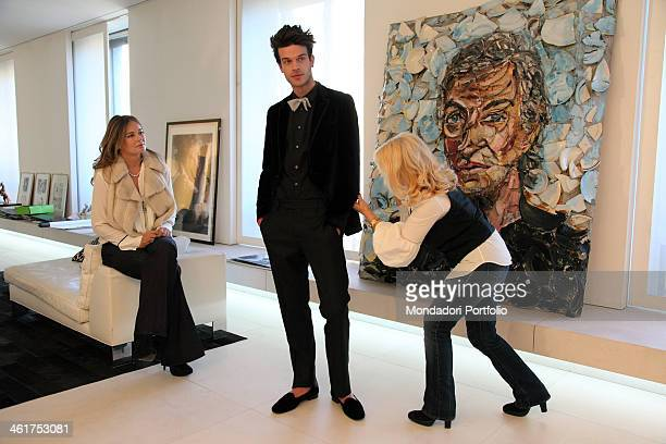 The model Ivan Olita during a photo shooting at the fashion designer Roberto Cavalli's showroom in via Senato in Milan with the fashion designer's...