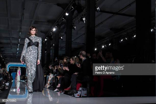 The model Kaia Gerber walks the runway at the Moschino show during Milan Fashion Week Fall/Winter 2018/19 on February 21 2018 in Milan Italy