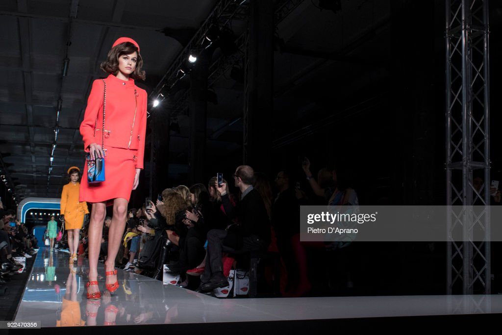 The model Kaia Gerber walks the runway at the Moschino show during Milan Fashion Week Fall/Winter 2018/19 on February 21, 2018 in Milan, Italy.