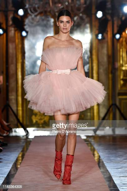 The model Kendall Jenner, beauty detail, walks the runway during the Giambattista Valli Loves H&M show on October 24, 2019 in Rome, Italy.