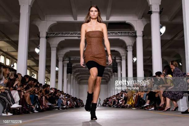 The model Luna Bijl walks the runway at the Roberto Cavalli show during Milan Fashion Week Spring/Summer 2019 on September 22 2018 in Milan Italy