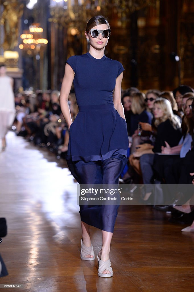 The model Miranda Kerr open the runway during Stella McCartney show, as part of the Paris Fashion Week Womenswear Spring/Summer 2014, in Paris.