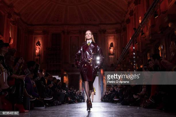 The model Natalia Vodianova walks the runway at the Versace show during Milan Fashion Week Fall/Winter 2018/19 on February 23 2018 in Milan Italy