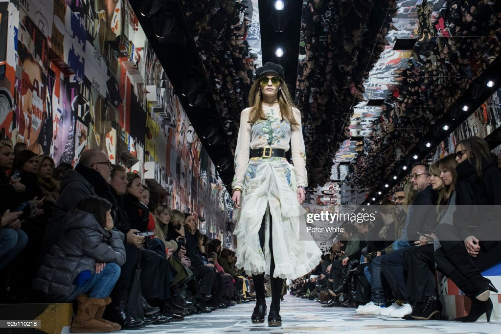 The model Nina Marker walks the runway during the Christian Dior show as part of the Paris Fashion Week Womenswear Fall/Winter 2018/2019 on February 27, 2018 in Paris, France.