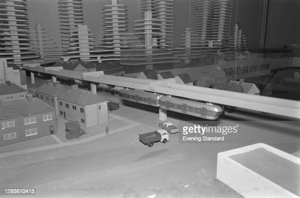 The model of a monorail system proposed by the Conservative Party to replace the buses in central London, UK, March 1967.
