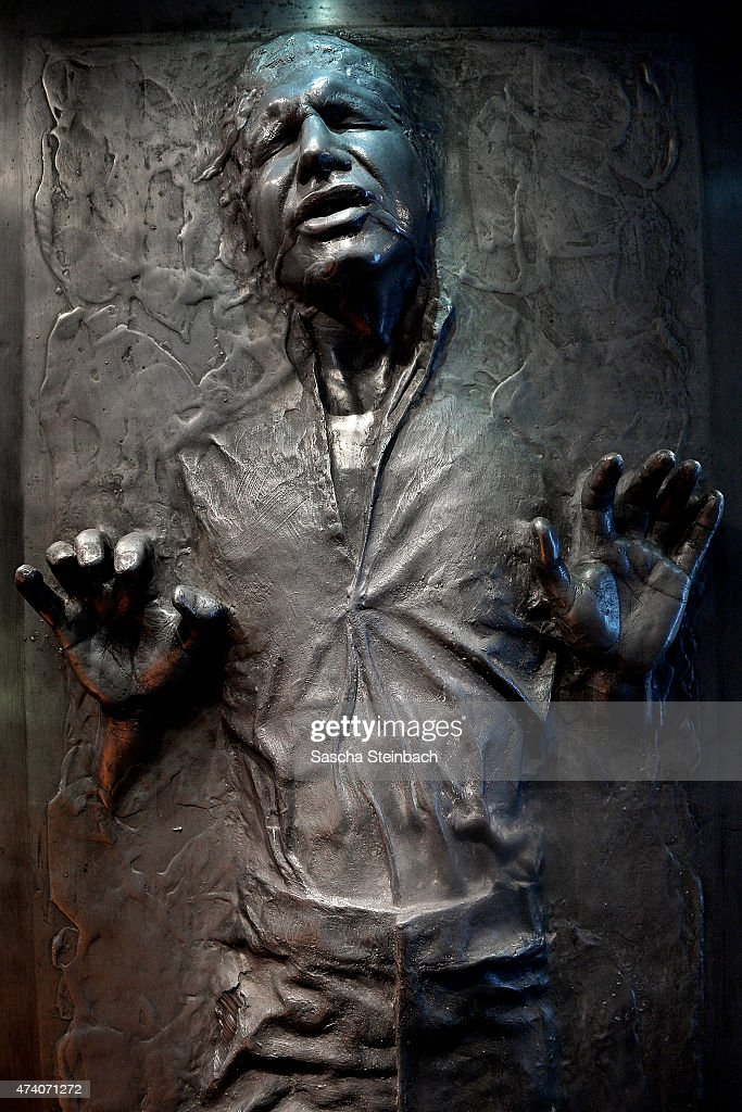 The model of 'Han Solo' captured and frozen in carbonite is seen during the 'Star Wars Identities' Exhibtion Press Preview & VIP Opening at Odysseum on May 20, 2015 in Cologne, Germany.