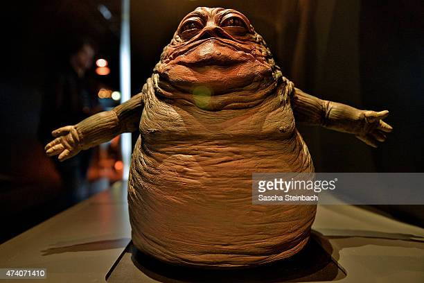 The model of Jabba the Hutt is seen during the 'Star Wars Identities' Exhibtion Press Preview VIP Opening at Odysseum on May 20 2015 in Cologne...