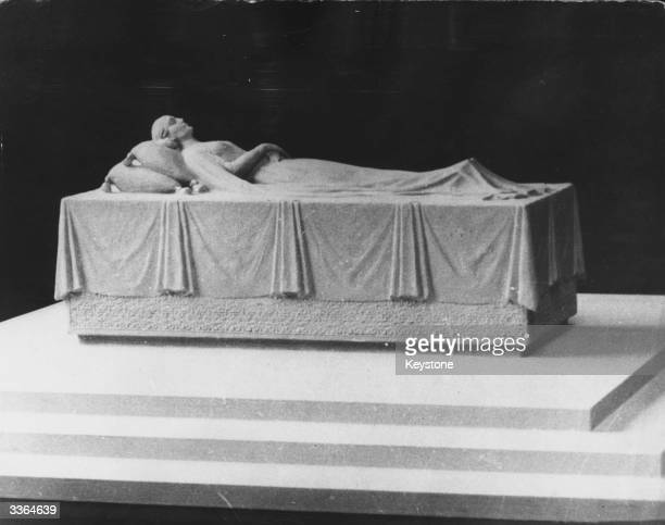 The model of the tomb of Eva Peron late wife of Argentine president Juan Peron which is to be constructed in silver and placed inside a huge...