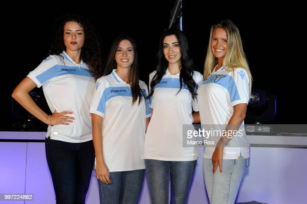 The model pose with has SS Lazio jersey attend the SS Lazio unveil new shirt for 201819 Season on July 12 2018 in Rome Italy