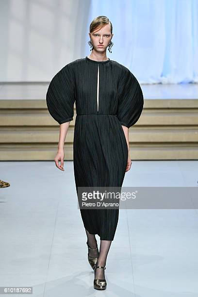 the model Sasha Luss walks the runway at the Jil Sander show during Milan Fashion Week Spring/Summer 2017 on September 24 2016 in Milan Italy
