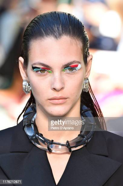 The model Vittoria Ceretti Beauty Detail walks the runway at the Salvatore Ferragamo show during the Milan Fashion Week Spring/Summer 2020 on...