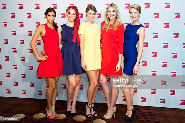 The models Luana Kim Laura Laura B and Lara pose during a photo call for the tv show 'Germany's Next Topmodel' on March 21 2016 in Berlin Germany
