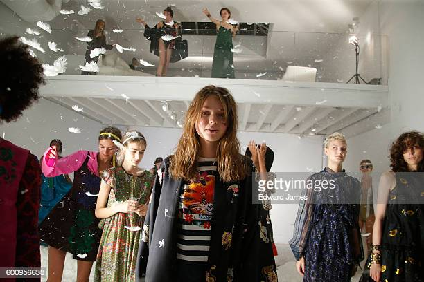 The models pose during the Cynthia Rowley presentation on September 8 2016 in New York City