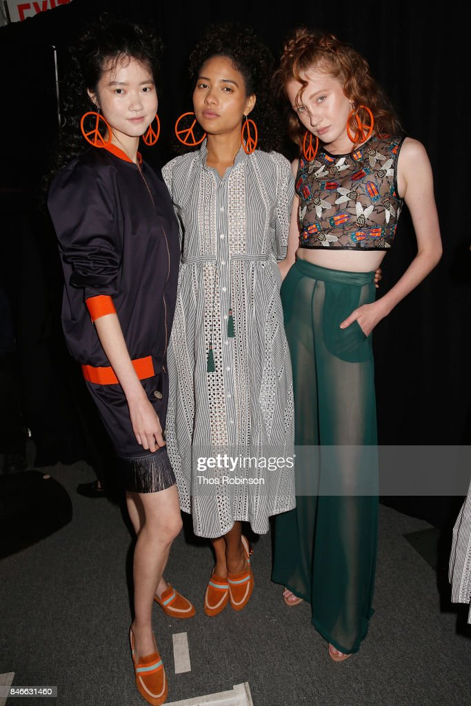The models prepare backstage for the Marcel Ostertag fashion show during New York Fashion Week: The Shows at Gallery 3, Skylight Clarkson Sq on September 13, 2017 in New York City.