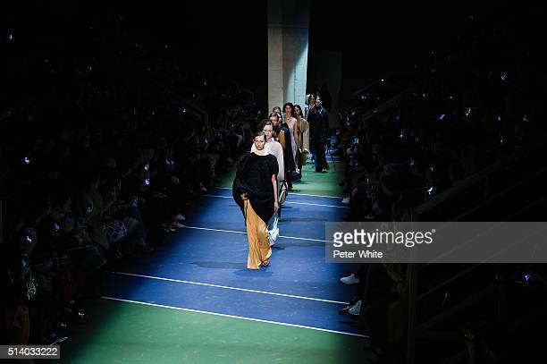 the models walks the runway during the Celine show as part of the Paris Fashion Week Womenswear Fall/Winter 2016/2017 on March 6 2016 in Paris France