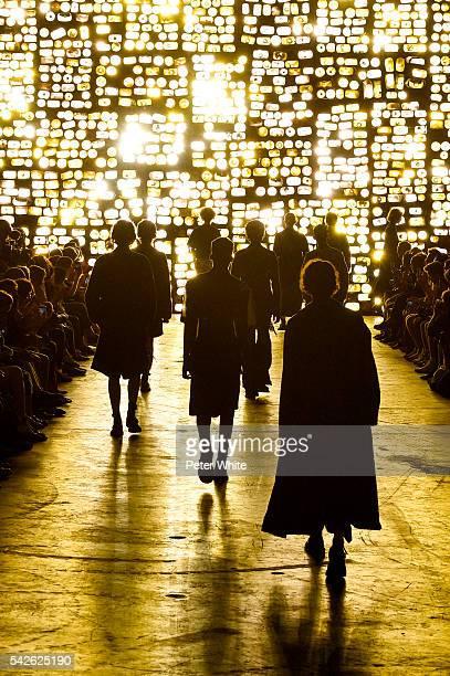 The models walks the runway during the Dries Van Noten Menswear Spring/Summer 2017 show as part of Paris Fashion Week on June 23 2016 in Paris France