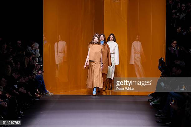 The models walks the runway during the Hermes show as part of the Paris Fashion Week Womenswear Fall/Winter 2016/2017 on March 7 2016 in Paris France