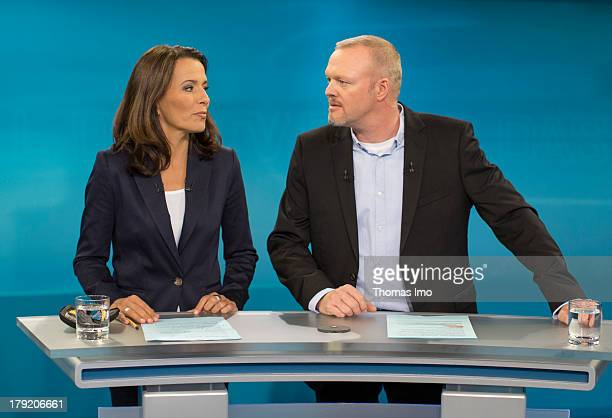 The Moderators Anne Will and Stefan Raab poses for a photograph before the TV Debate with German Chancellor and Christian Democrat Angela Merkel and...