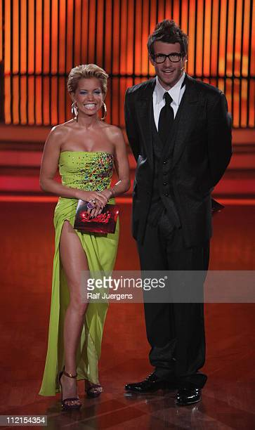 The moderators Daniel Hartwich and Sylvie van der Vaart perform during the 'Let's Dance' TV show at Coloneum on April 13 2011 in Cologne Germany