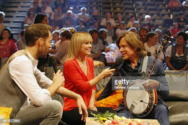 The moderators Francine Jordi and Alexander Mazza with Juergen Drews during the dress rehearsal of the TV music show Stadlshow on September 11 2015...
