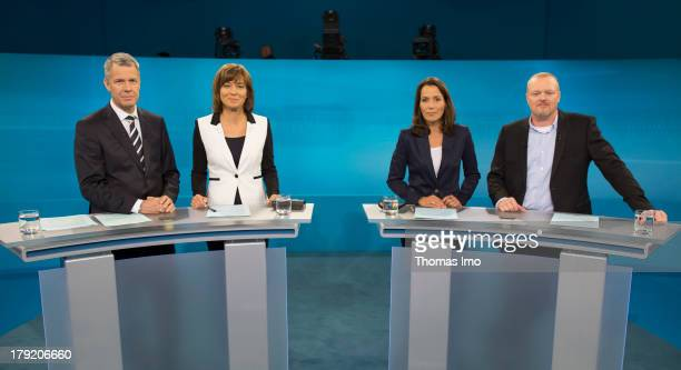 The Moderators Peter Kloeppel Maybritt Illner Anne Will and Stefan Raab poses for a photograph before the TV Debate with German Chancellor and...