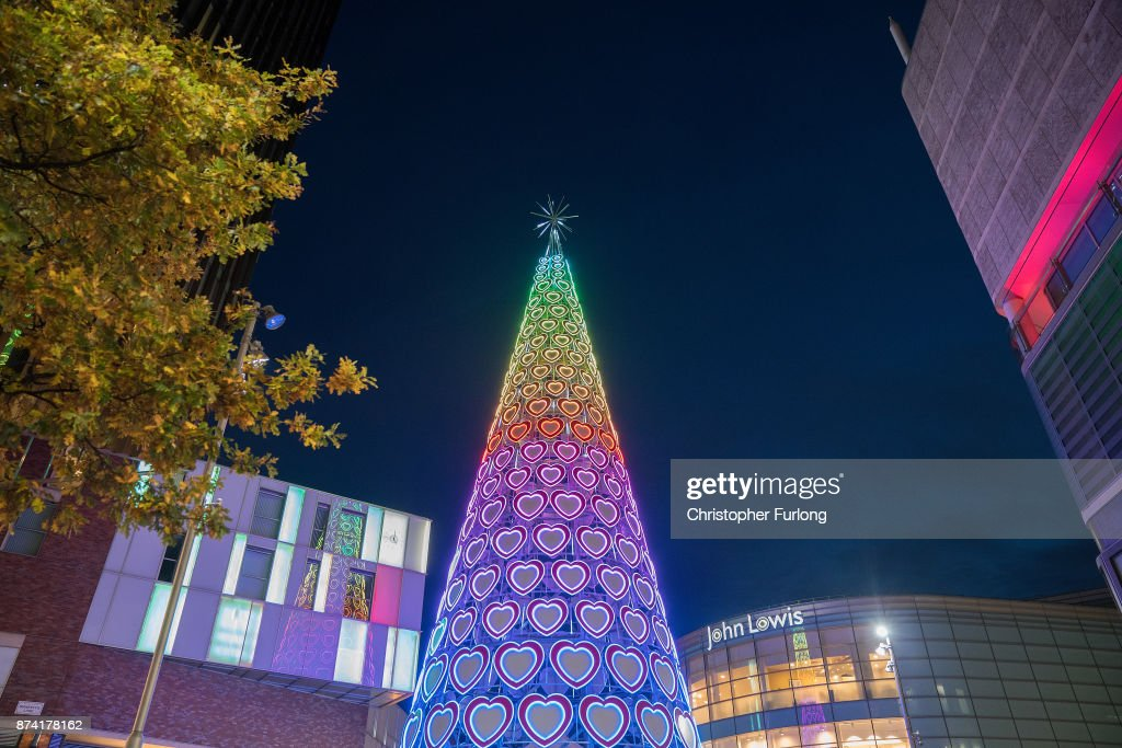 The modern Christmas tree of the Liverpool One retail park illuminates the sky as businesses in Liverpool switch on their Christmas lights and window displays in the hope of an early boost to sales during the festive period on November 14, 2017 in Liverpool, England.