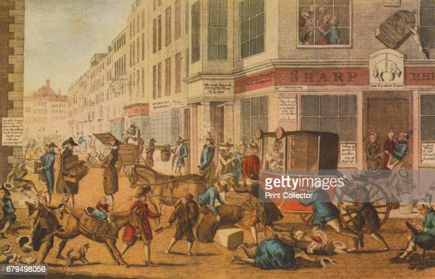 The modern tradesman or the glories of British commerce' 1774 View looking down Crown Court from Cheapside London A satire on the financial failures...