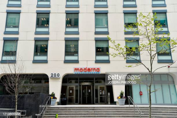The Moderna headquarters are seen in Cambridge, Massachusetts on May 18, 2020. - US biotech firm Moderna reported promising early results from the...