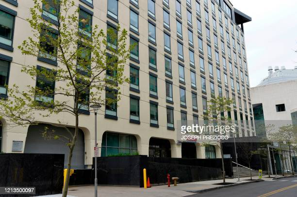 The Moderna headquarters are seen in Cambridge Massachusetts on May 18 2020 US biotech firm Moderna reported promising early results from the first...