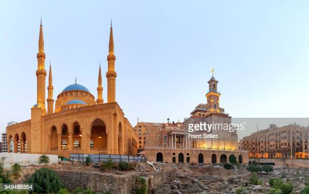 the mohammad al-amin mosque and the st. george maronite cathedral, beirut, lebanon - cathedral stock pictures, royalty-free photos & images