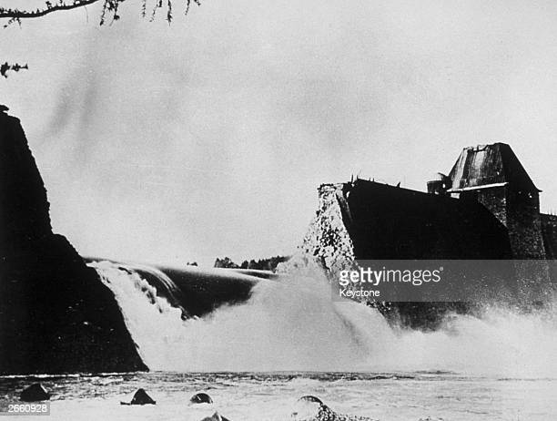 The Mohne Dam in North RhineWestphalia after being bombed by the No 617 Squadron of the RAF better known as the Dambusters during Operation Chastise...