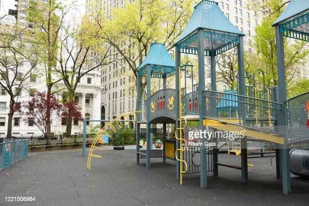 The Moira Ann Smith playground at Madison Square Park remains closed during the coronavirus pandemic on April 27, 2020 in New York City. COVID-19 has...