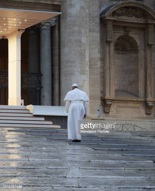 The moment of prayer presided over by Pope Francis on the sagrato of St Peter's Basilica to invoke the end of the coronavirus pandemic Vatican City...