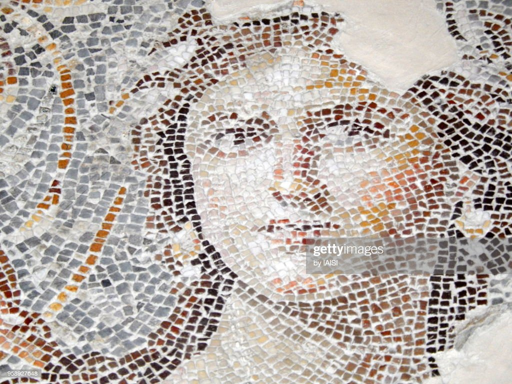 The Mona Lisa of the Galillee, a 1 800 Years old, 2th century CE mosaic portrait in the Lower Galillee : Stock Photo