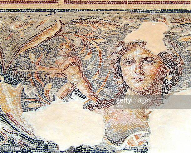 the mona lisa of the galillee, a 2th century ce mosaics in sepphoris/ zippori/ tzippori national park - byzantine stock photos and pictures