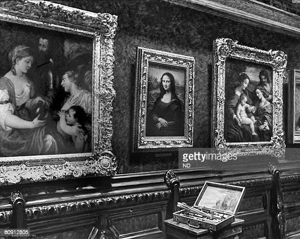 The Mona Lisa painting is on display in the Square Lounge circa 1914 in Paris France Vincenzo Peruggia perpetrated what has been described as the...