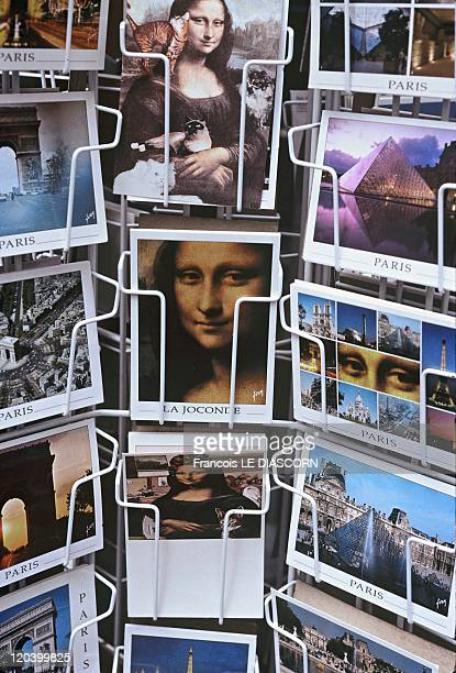 The Mona Lisa Postcards in Paris France in October 2001 Postcard stand on a street